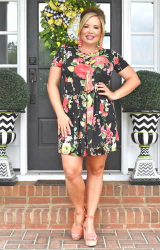 Scattered Thoughts Floral Dress - Black