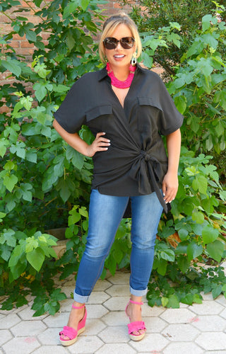 Feeling The Connection Wrap Top - Black