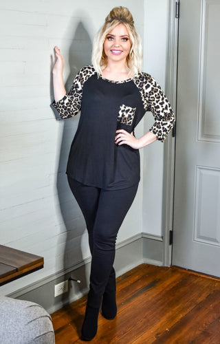 What Comes Next Leopard Print Top - Black
