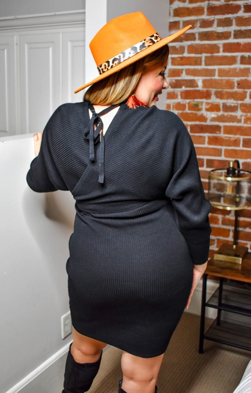 Load image into Gallery viewer, Waiting For Tonight Sweater Dress - Black