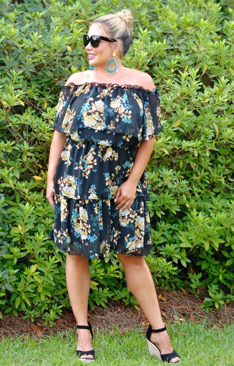 Final Thoughts Floral Dress - Black