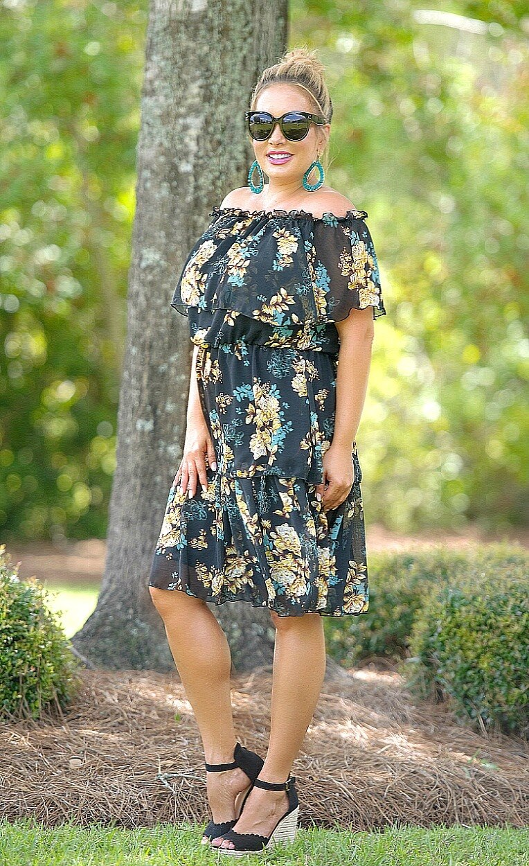 Load image into Gallery viewer, Final Thoughts Floral Dress - Black