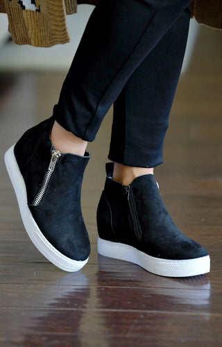 Better For Me Wedge Sneakers - Black