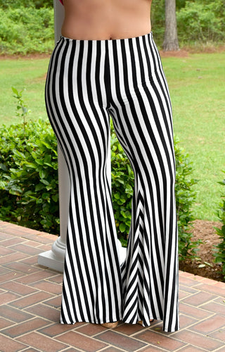 Careful Now Striped Pants - Black/White