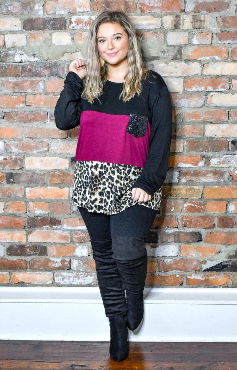 The One To Keep Colorblock Top - Black/Burgundy