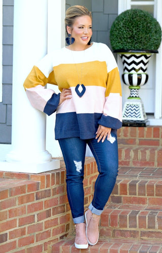 Not Surprised Colorblock Sweater - Multi