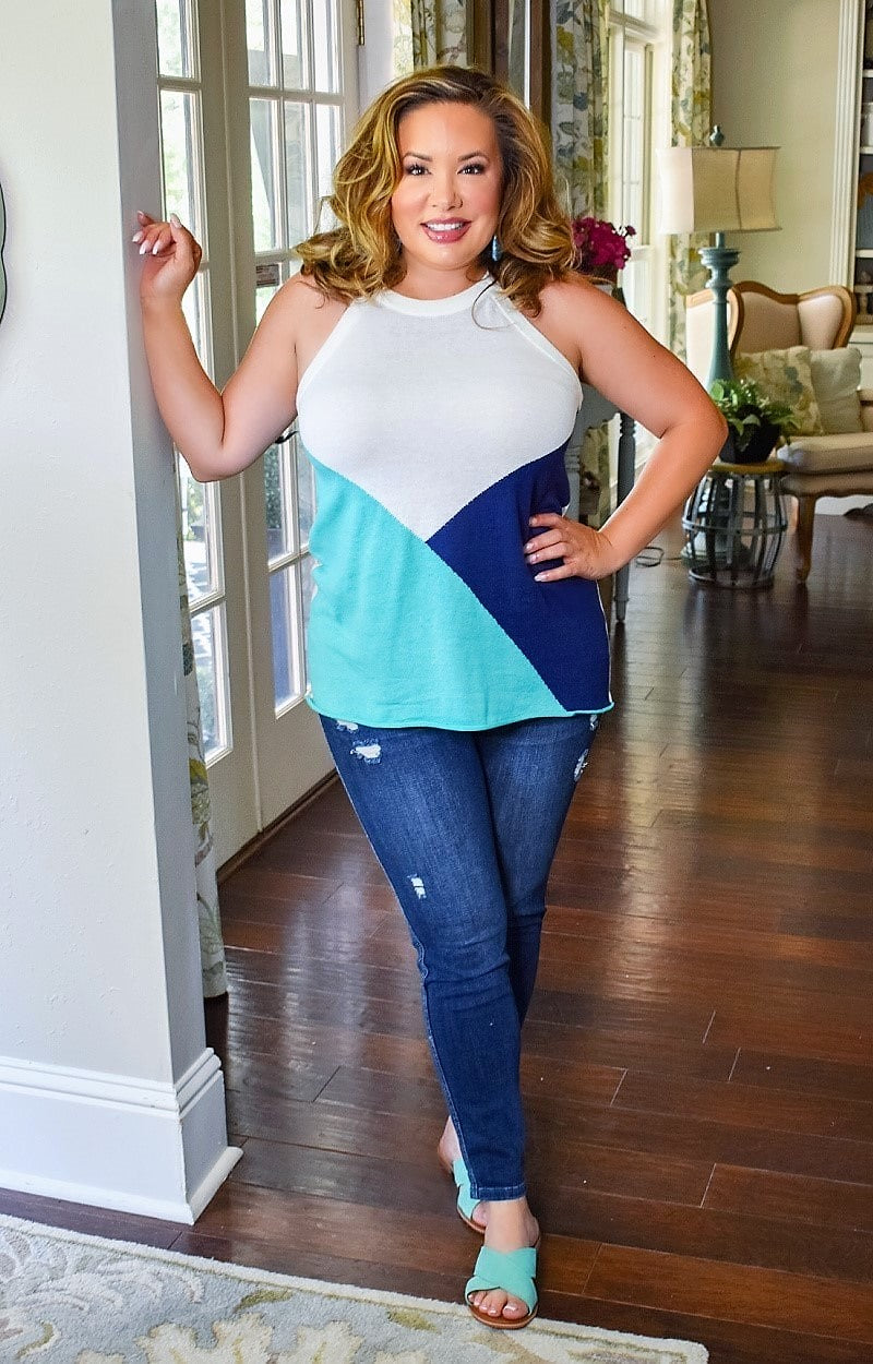 Forever Your Girl Top - Mint/Navy
