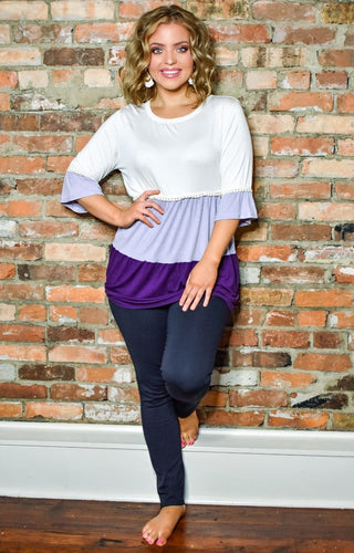 Days Like This Colorblock Top - Ivory/Lilac