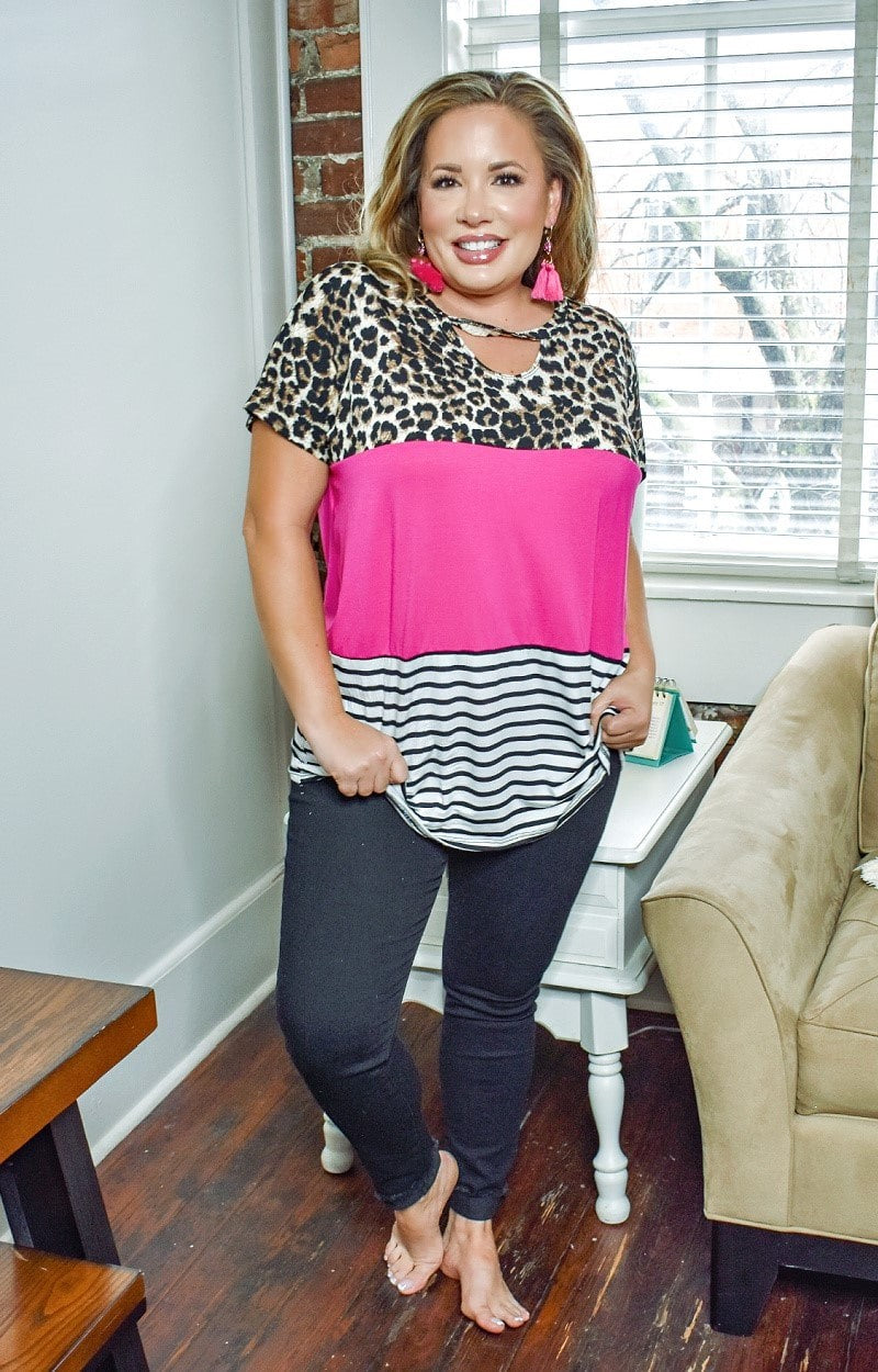 From My View Colorblock Top - Leopard/Fuchsia