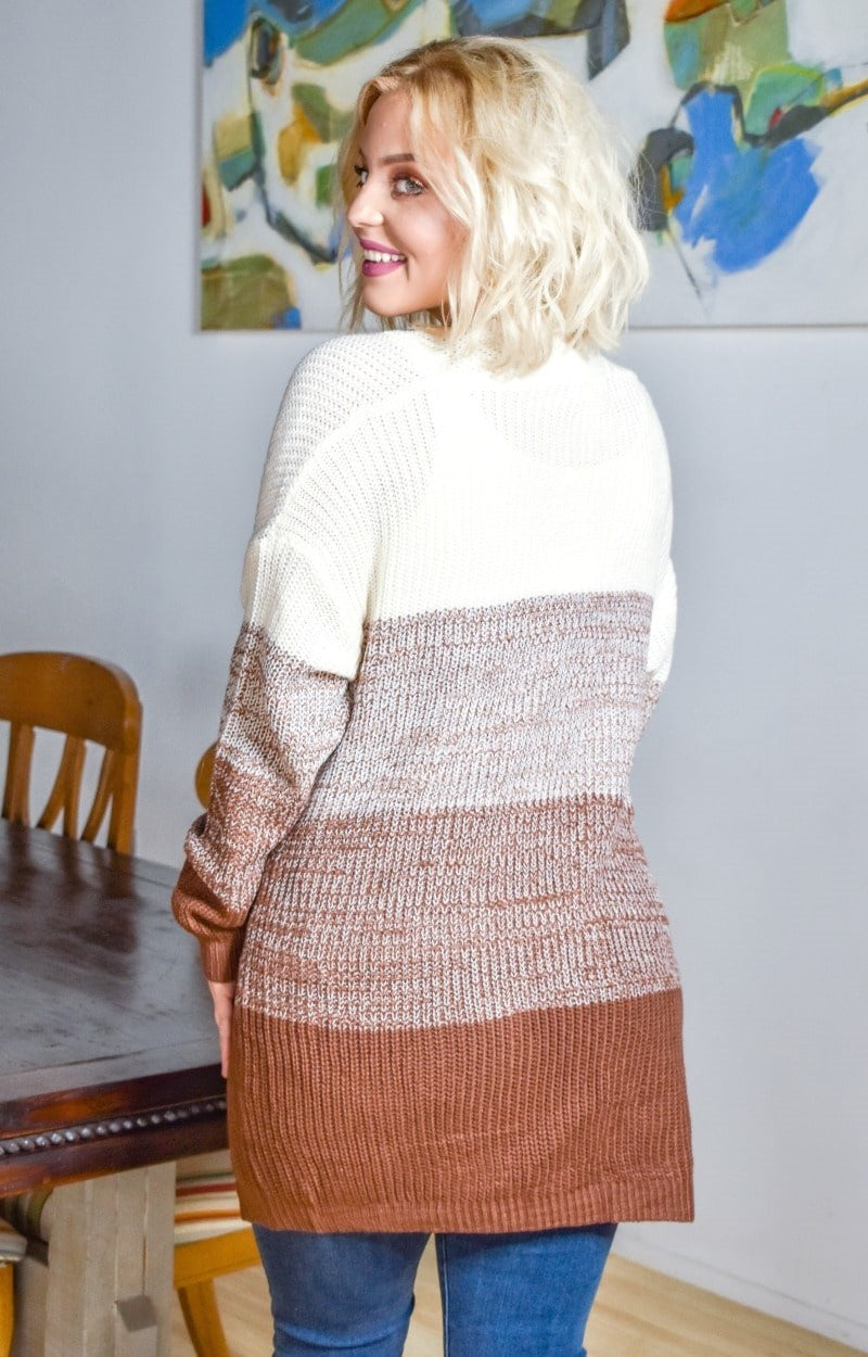 At This Moment Colorblock Cardigan - Cream/Chocolate