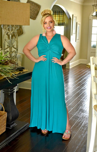 In Pursuit Maxi Dress - Teal