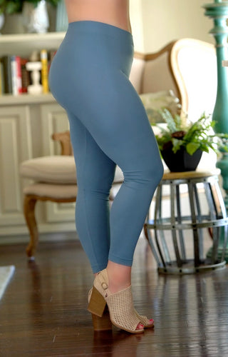 So Very Luxe Ankle Length Leggings - Dusty Blue