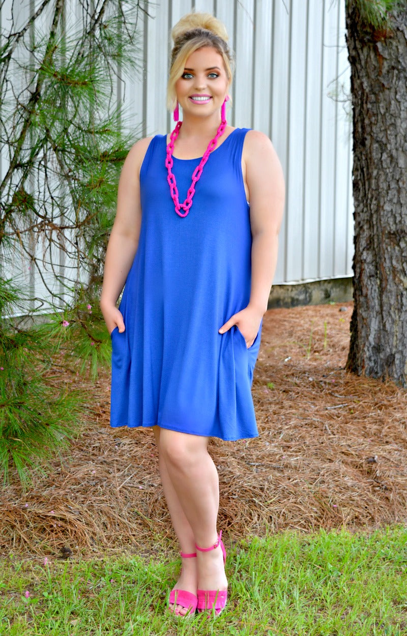 Load image into Gallery viewer, Line It Up Dress - Royal Blue