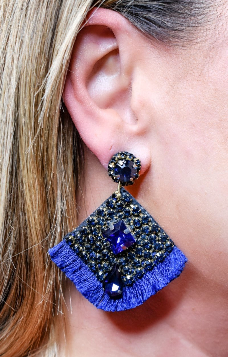 Don't Waste A Moment Earrings - Navy