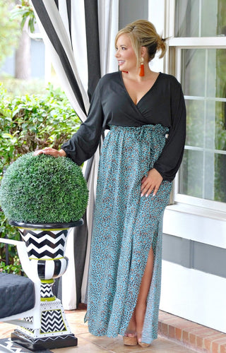 Got It Right Print Maxi Dress - Black/Teal