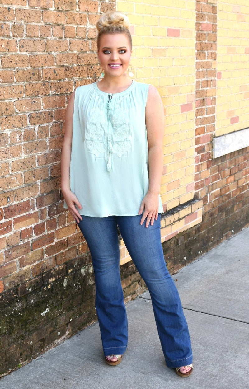 All Too Well Embroidered Top - Mint