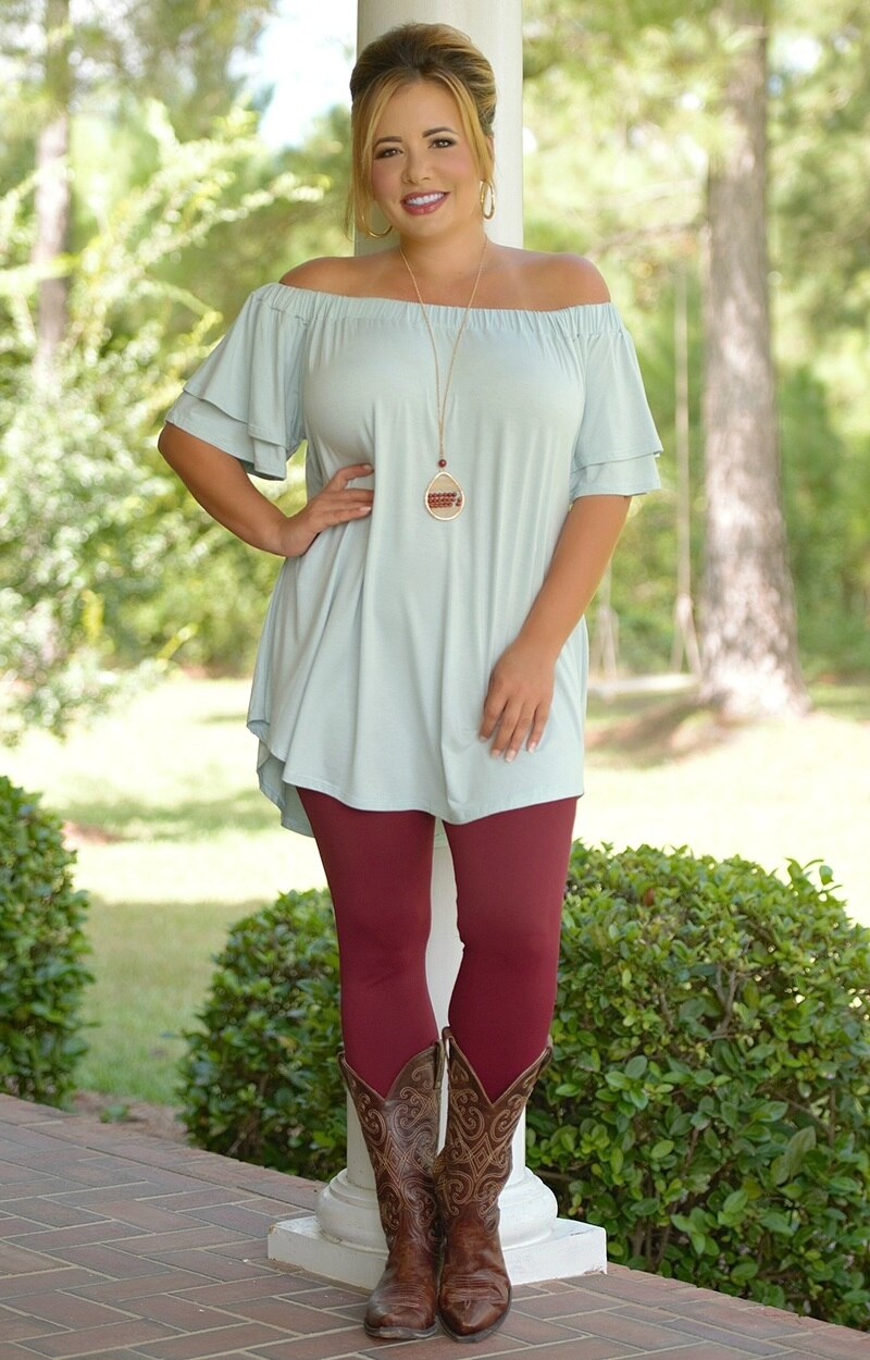 So Very Luxe Ankle Length Leggings - Burgundy