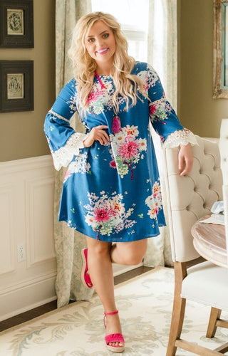 Something For You Floral Dress - Navy