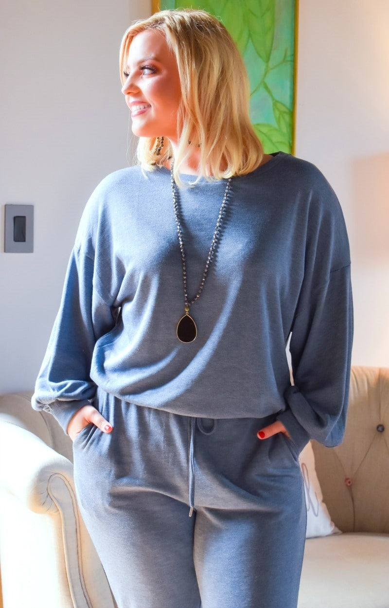 Just Lounging Around Pullover - Slate Blue