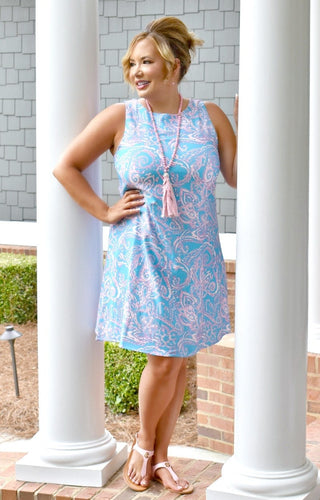 Be An Icon Print Dress - Blue/Pink