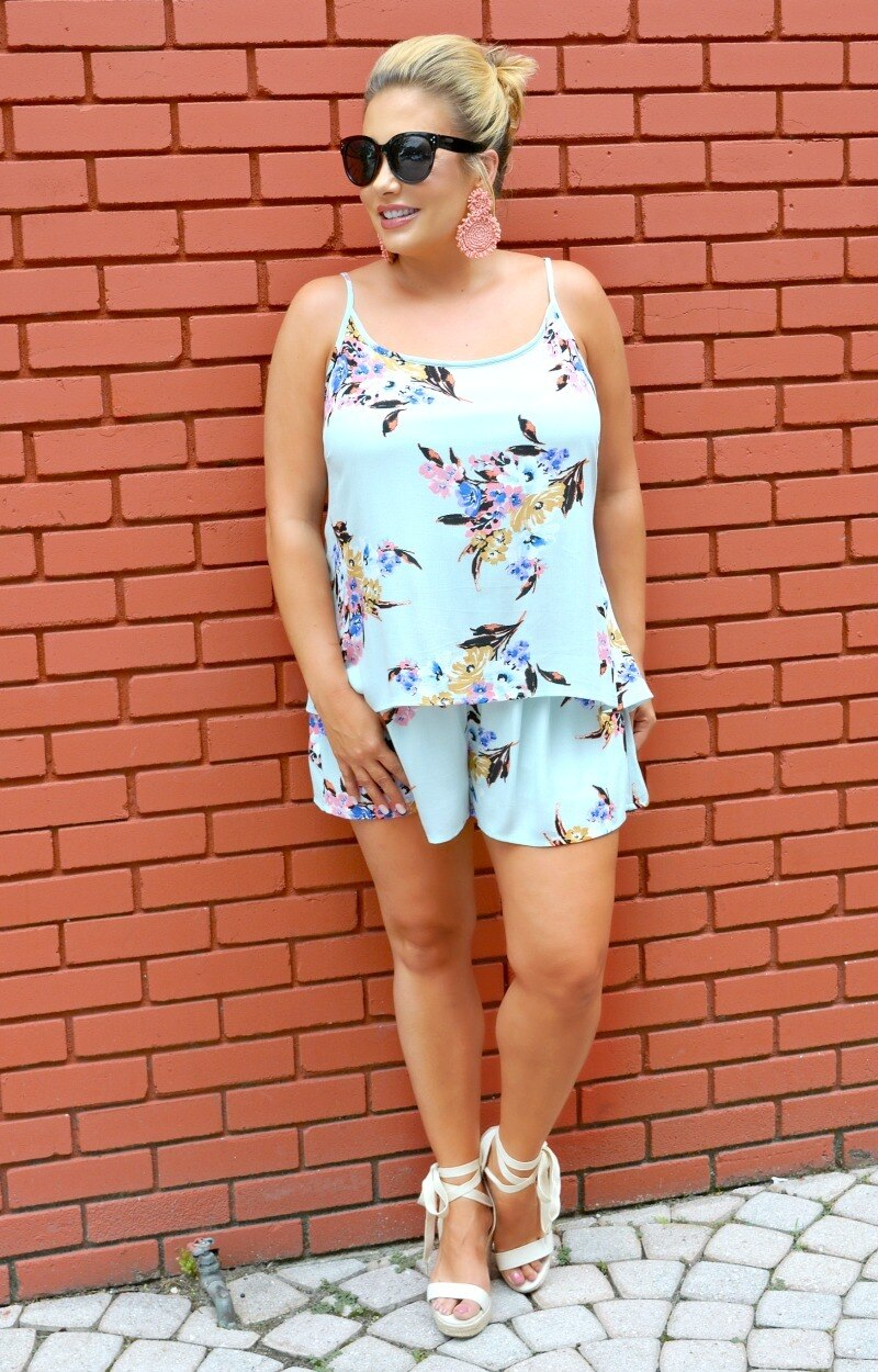 I Know You Floral Romper - Mint
