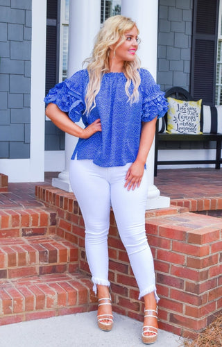 Setting The Trend Print Top - Blue