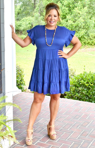 Spotted A Cutie Dress - Royal Blue