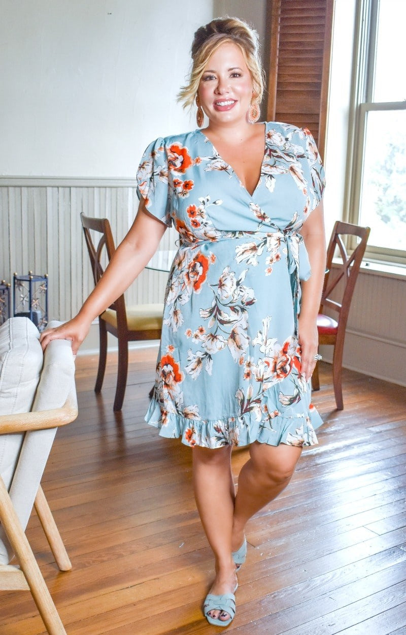 Load image into Gallery viewer, Incredible Beauty Floral Dress - Mint Blue