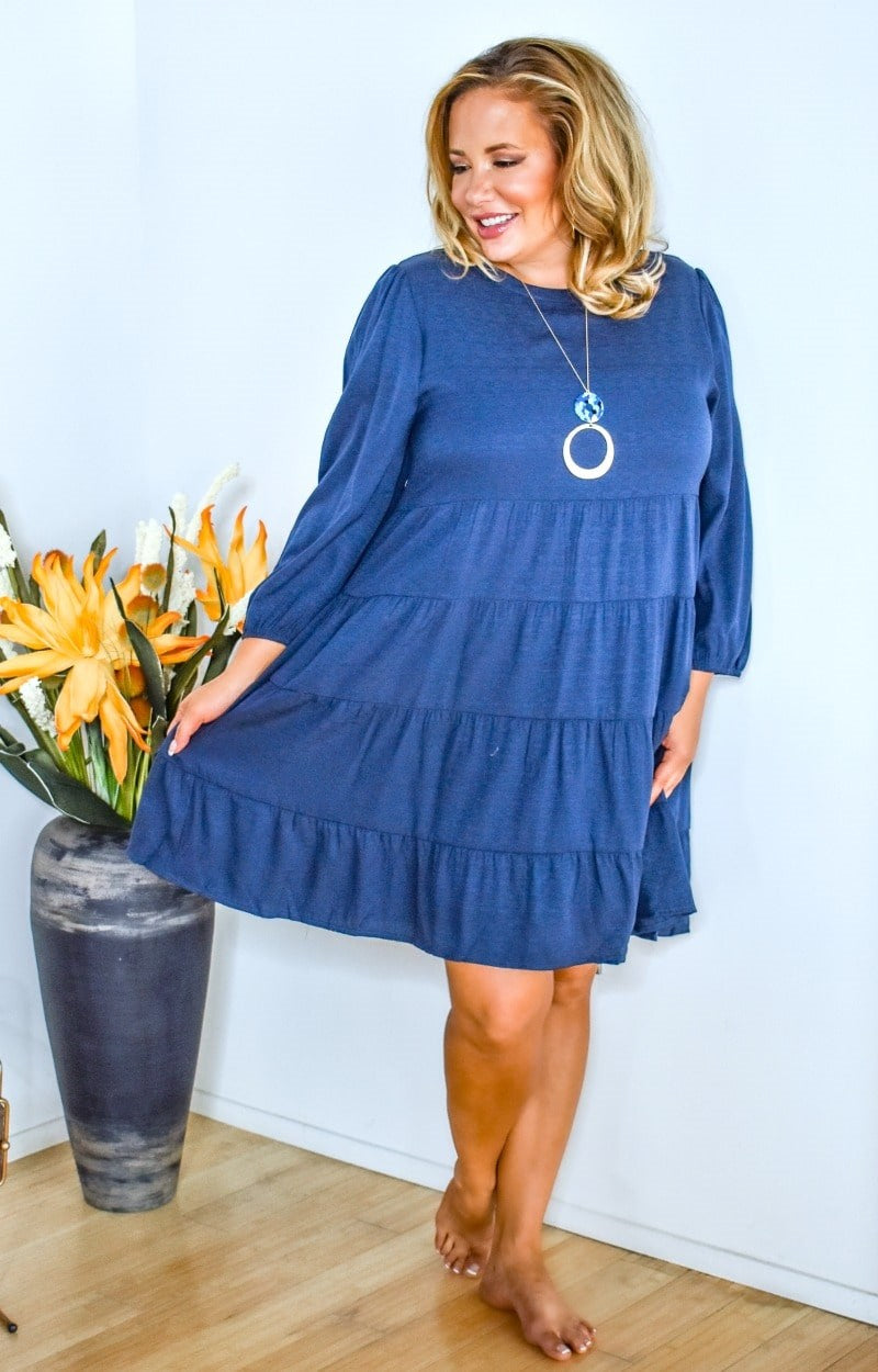 Load image into Gallery viewer, Feeling Inspired Dress - Navy