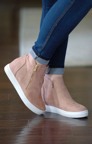Better For Me Wedge Sneakers - Blush