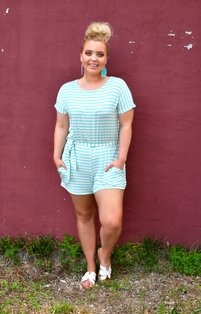 Load image into Gallery viewer, Comfort First Striped Romper - White/Mint