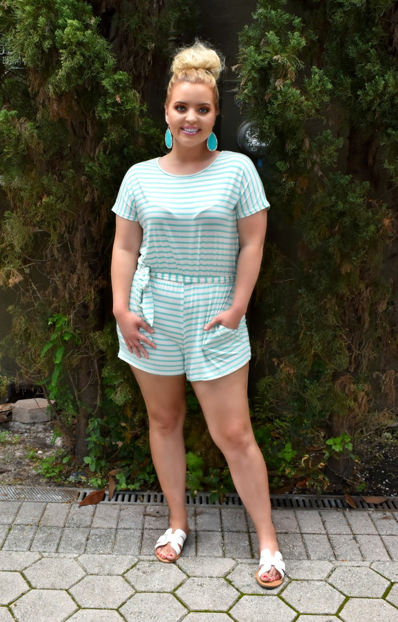 Comfort First Striped Romper - White/Mint