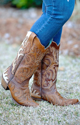 Corral - Brown Fur Overlay & Studded Boots