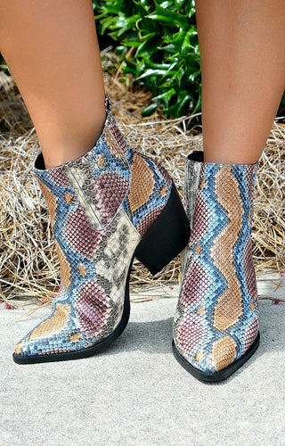 Slither Around Snake Print Booties - Multi