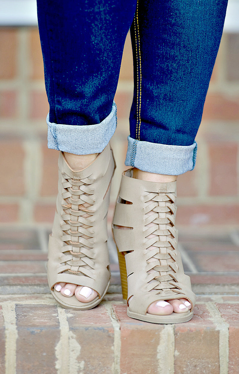 Load image into Gallery viewer, My Soft Side Peep Toe Booties - Taupe
