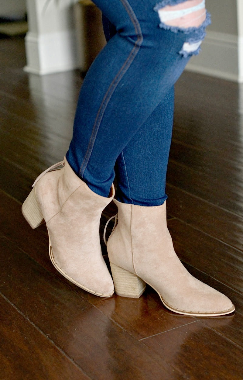 Take You Away Ankle Booties - Taupe
