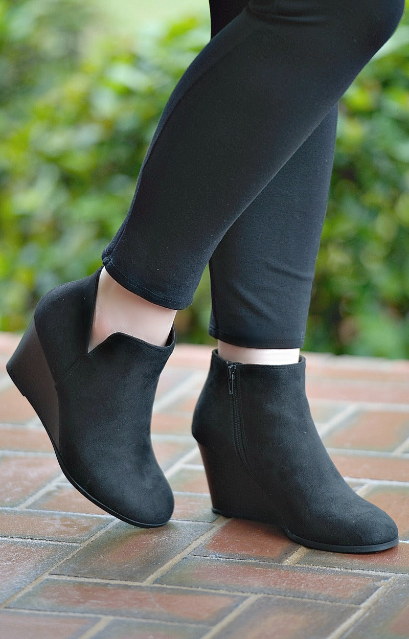 Call The Shots Wedge Booties - Black