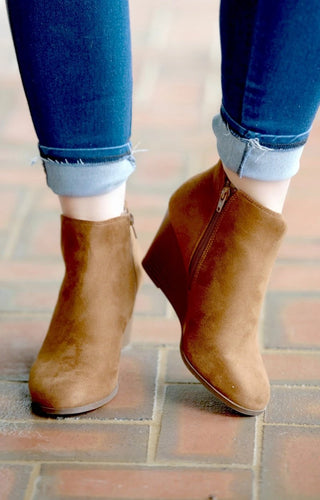 Call The Shots Wedge Booties - Caramel Brown