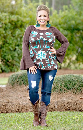 Thrill Seeker Embroidered Top - Brown