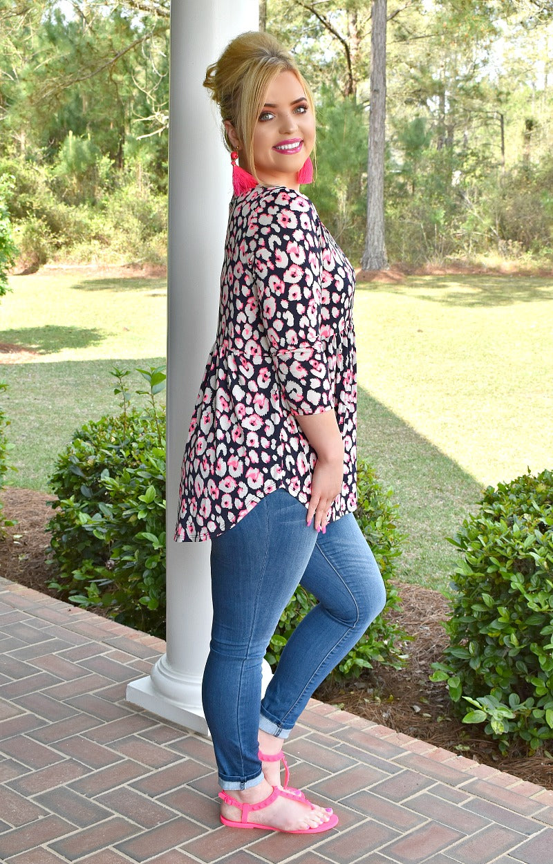 Changing Spots Print Top - Navy