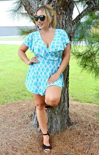 Wish You Were Here Print Romper - Blue