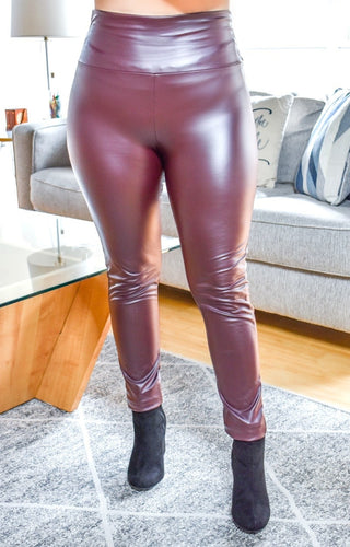 Subtle Allure Faux Leather Leggings - Burgundy