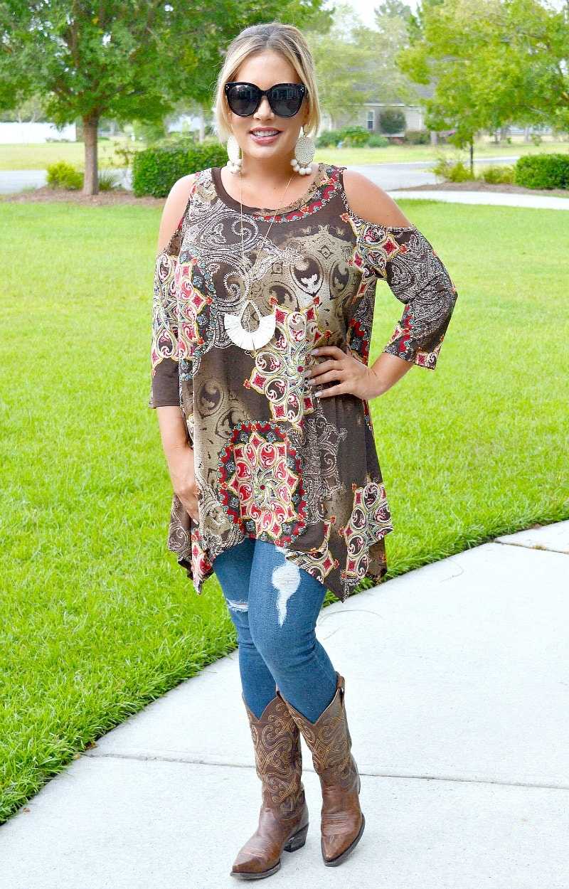 Load image into Gallery viewer, The Good Life Cold Shoulder Print Top - Multi