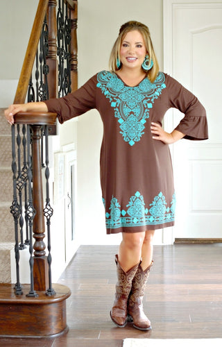Never A Dull Moment Print Dress - Brown