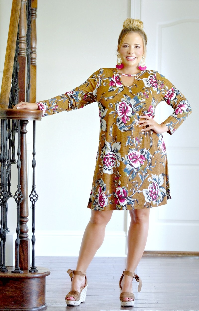 Defy The Rules Floral Dress - Mocha