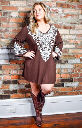 Classic Ending Embroidered Dress/Tunic - Brown