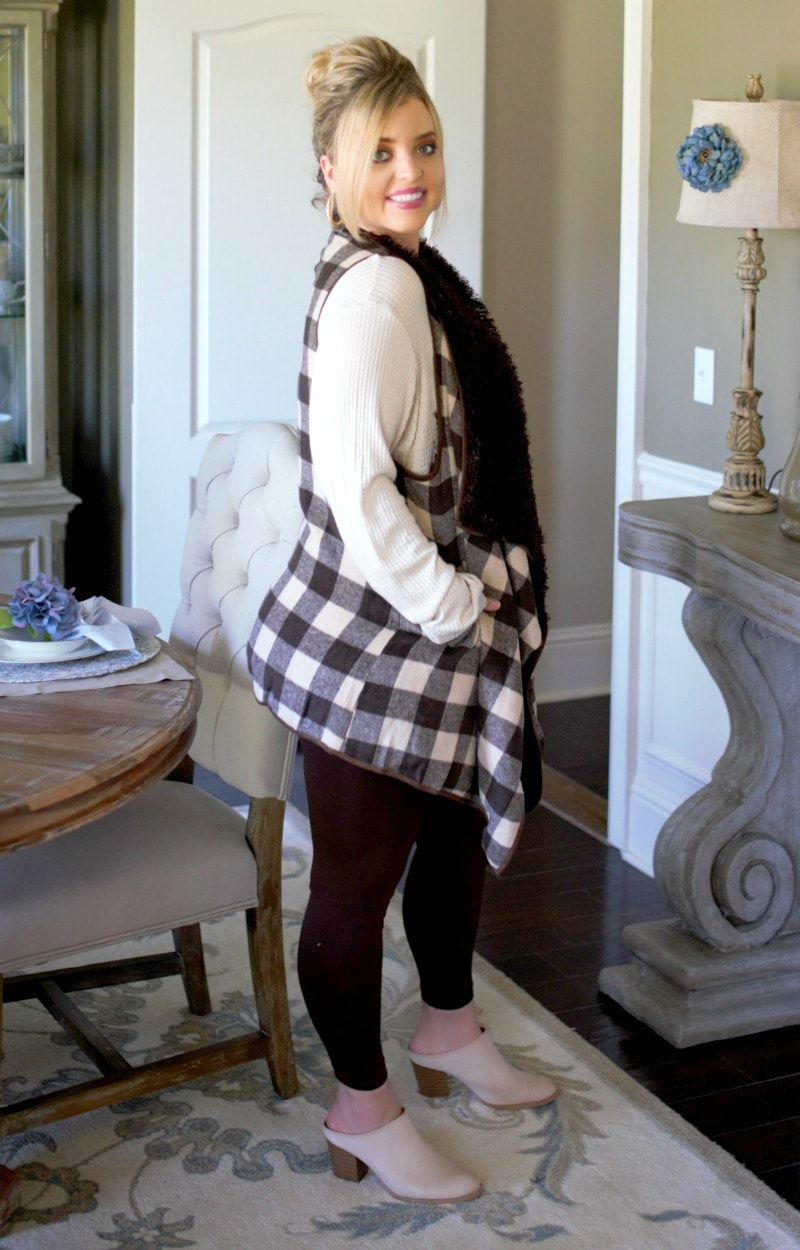 Everyday Occasion Buffalo Plaid Vest - Mocha/Brown