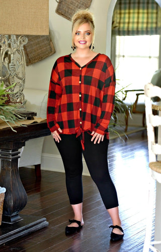 Moonlight Magic Buffalo Plaid Top - Red