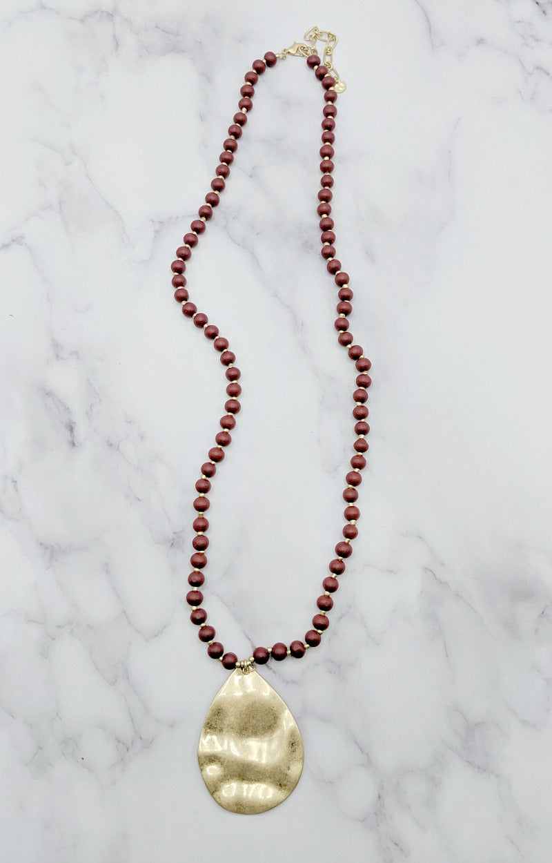 Happy As Can Be Necklace - Burgundy