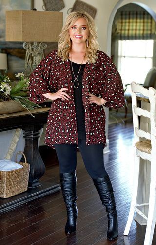 Hidden Wonders Leopard Print Cardigan - Burgundy